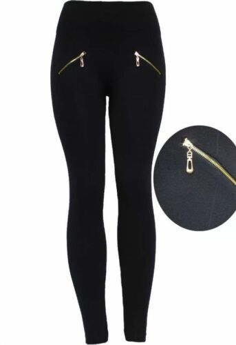 Women High Waist Slim Elastic Skinny Zip Leggings Stretchy Jeggings FR size 8-14