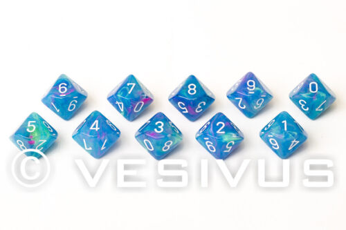 DICE Chessex FESTIVE WATERLILY Set 10d10 Set Blue Block Colorful D/&D RPG 27346