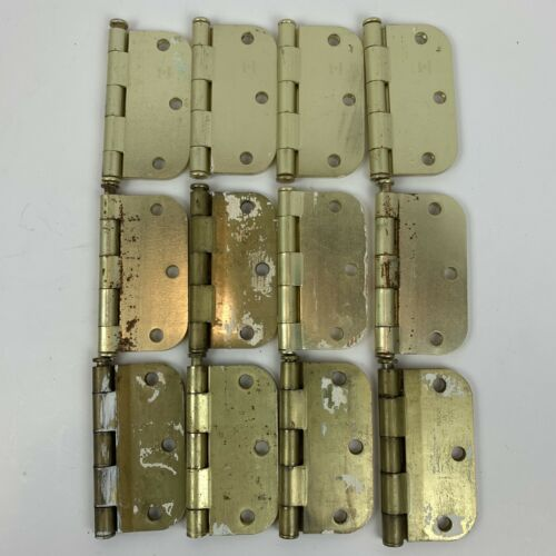 Lot Of 12 Stanley door Hinges brass gold 3.5x3.5 Round corners Used Reclaimed