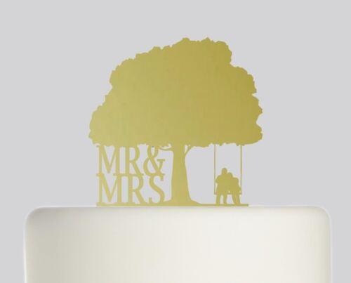 Mr and Mrs Oak Tree Couple on Swing Wedding Acrylic Cake topper .560