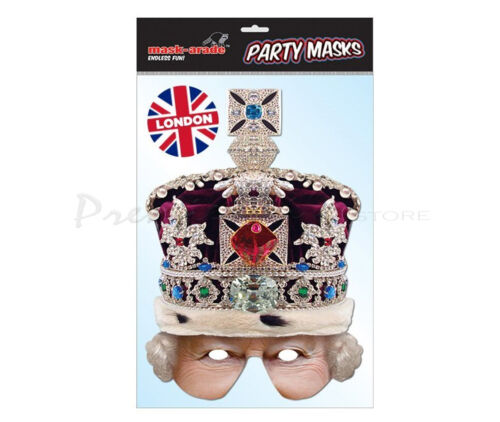Historical British Queen Ancient Printed Card Fancy Dress Official Face Masks