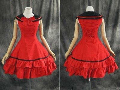 M-T107 S/M/L/XL/XXL rot red Gothic Sailor Lolita Cosplay dress Kostüm costume