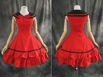 M-T107 S/M/L/XL/XXL rot red Gothic Sailor Lolita Cosplay dress Kostüm costume