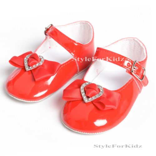 BABY GIRLS CHRISTENING SHOES WHITE WEDDING SPECIAL OCCASION PATENT PRAM SHOES