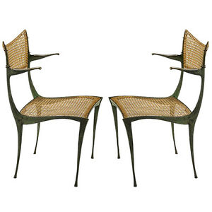 Image Is Loading Pair Of Bronze Gazelle Chairs Dan Johnson