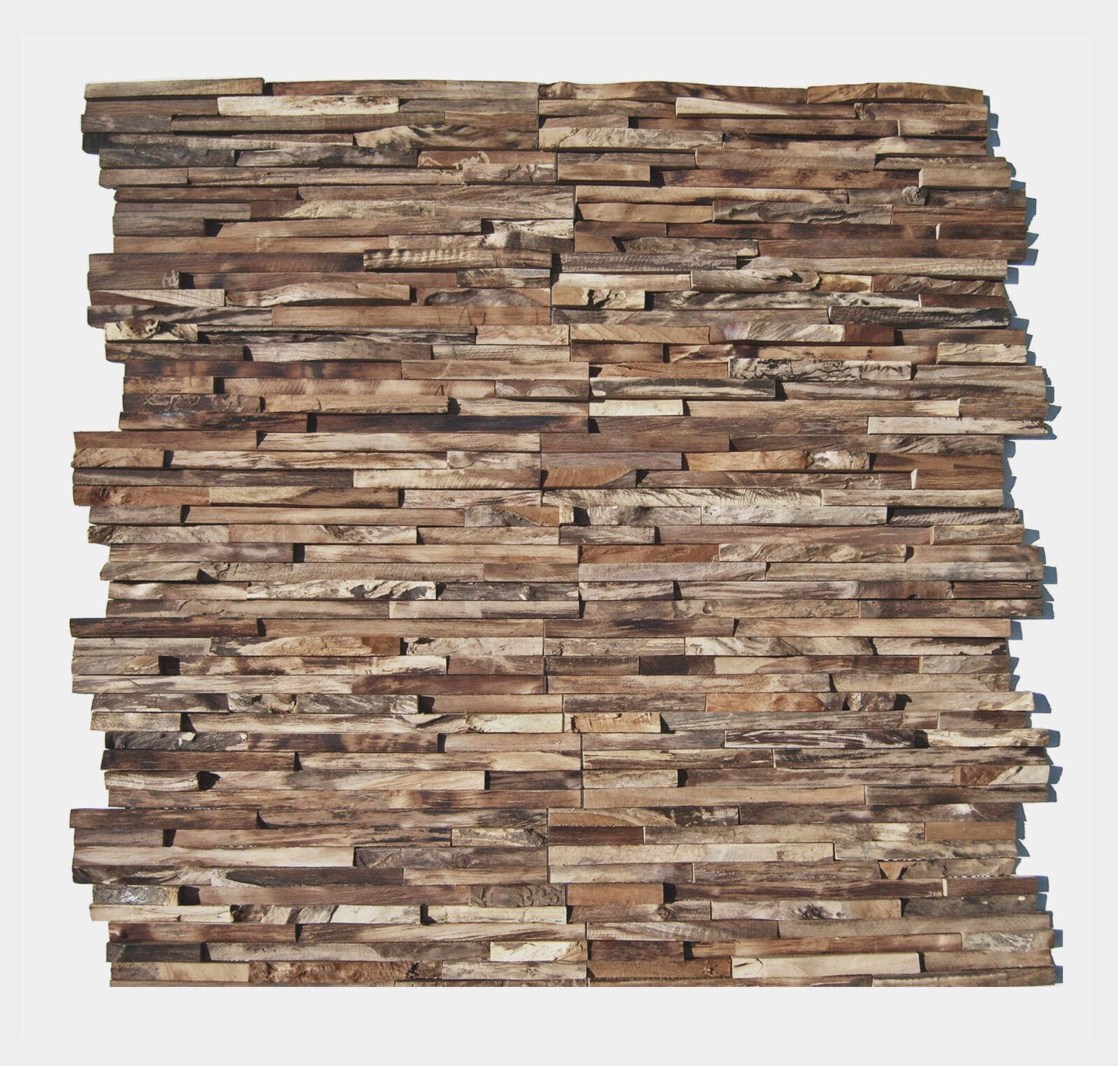 1 qm Teak Holz Mosaikfliesen HO-006 Wandverkleidung Holzwand Wanddekoration