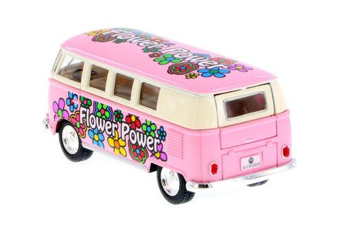 "1:32 PASTEL PINK FLOWER VW VOLKSWAGEN 1962 CLASSIC BUS KINSMART DIECAST 5/"""