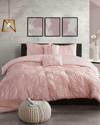 Full Size Comforter Set Pink Coral Textured Tufted Pleated 5 Piece Full/Queen S