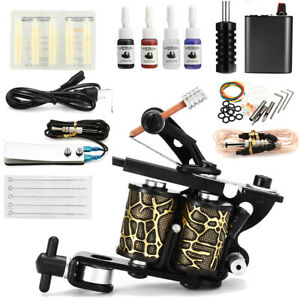 Complet-Tattoo-Kit-de-Tatouage-Gun-Machine-a-Tatouer-Encre-Ink-Alimentation-Set