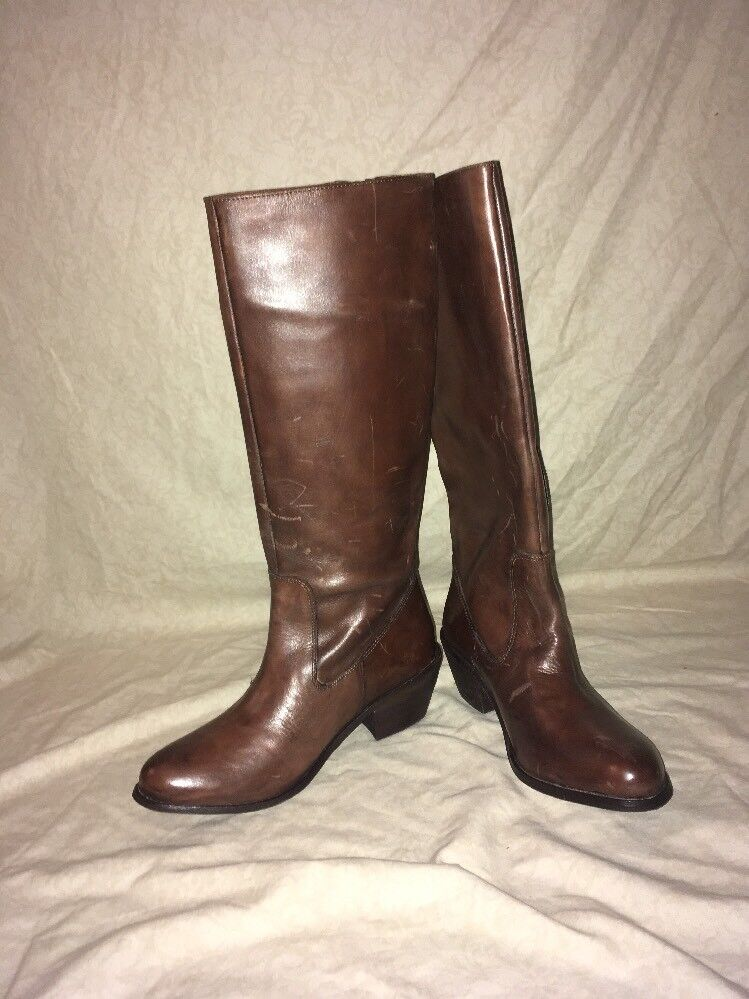 Mia Marroneee Leather stivali To The Knee, donna's stivali, Dimensione 7M
