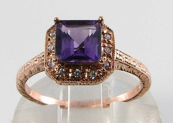 LUSH 9CT 9K pink gold AFRICAN AMETHYST & DIAMOND ART DECO INS RING FREE RESIZE