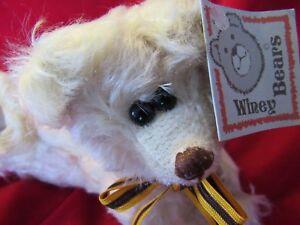"Bears One Of A Kind Adorable Vtg 9"" White Mohair Teddy Bear Artist Signed Sally Winey Bears Easter"