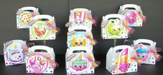 24pc SHOPKINS FAVOR BOXES + BOW HAIR CLIP ON EACH BOX BIRTHDAY PARTY HAND MADE