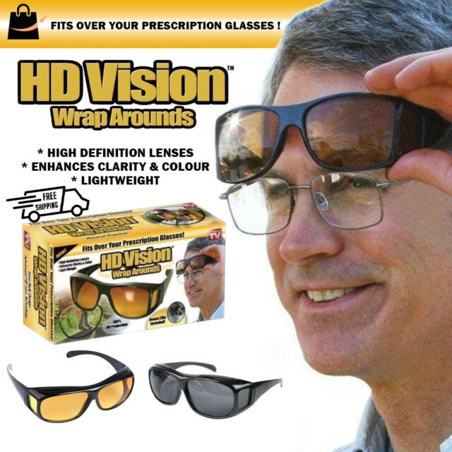 4ecc5bc1ac 2pair Set HD Night Vision Wraparound Sunglasses as Seen on TV Fits Over  Glasses