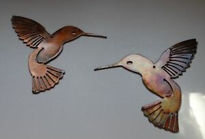 Hummingbird-Pair-Metal-Wall-Art-Decor-Pair-of-2-6-034-x-6-034