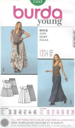 burda 7553 Misses/' Skirts 10 to 20     Sewing Pattern