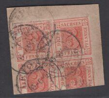 Sachsen, Nr. 1 a, gestempelt in Viererblock mit Fotoattest, nur 2 Stücke bekannt