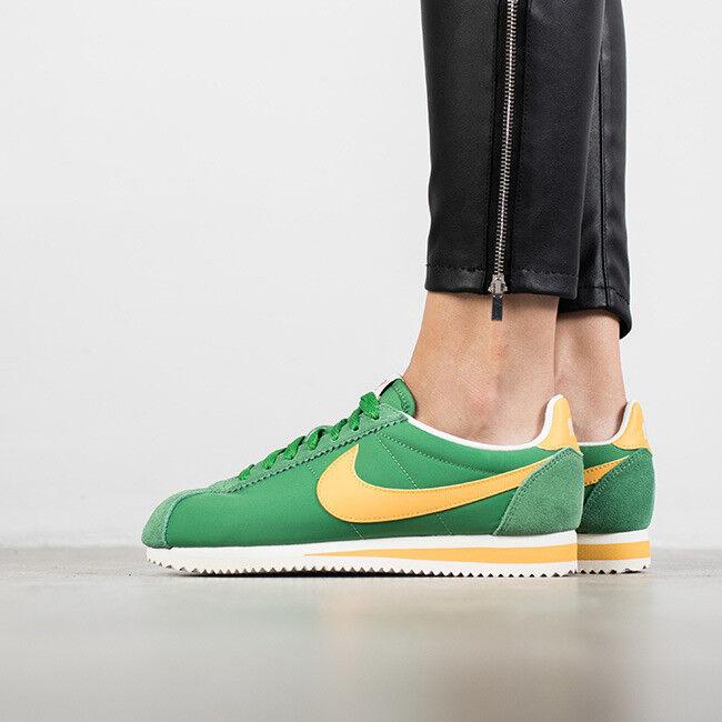 Nike Womens Classic Cortez Nylon sz 7 Green Yellow White Shoes Oregon A's BRAZIL