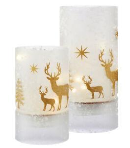 LED-Windlicht-Weihnachten-Glas-satiniert-Hirsch-gold-Batteriebetrieb-15-cm-20-cm