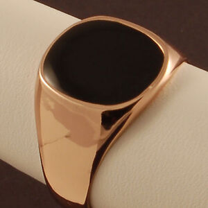 Rose-Gold-Plated-Onyx-Pinky-Ring-New-Mens-Signet-Wedding-Band-Sizes-R-amp-S