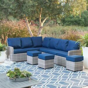 All Weather Outdoor Gray Wicker Sofa Sectional Set Patio Furniture ...