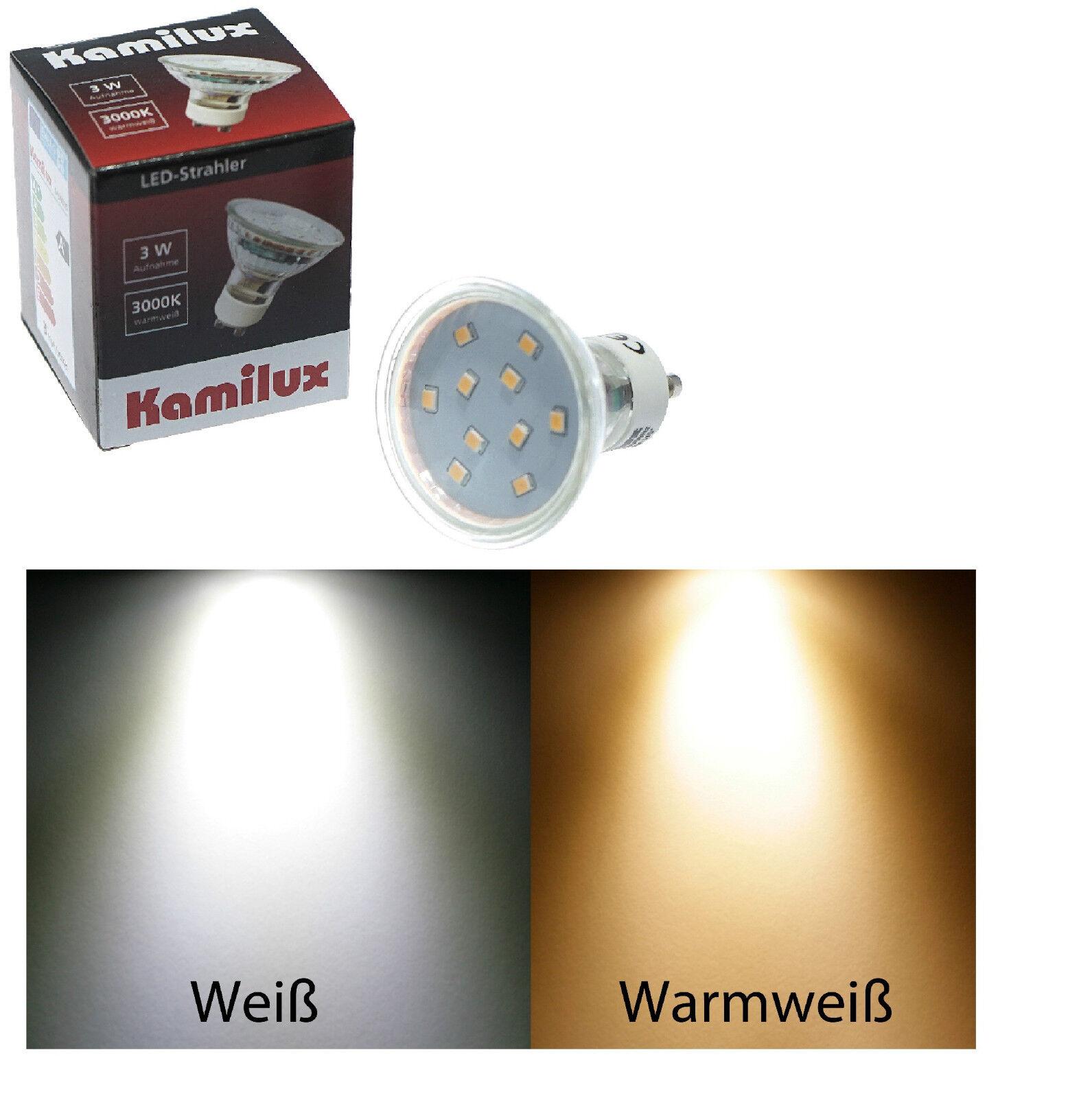 3 Watt = 35w 10er SMD LED 230V GU10 neutralweiss & warmweiss