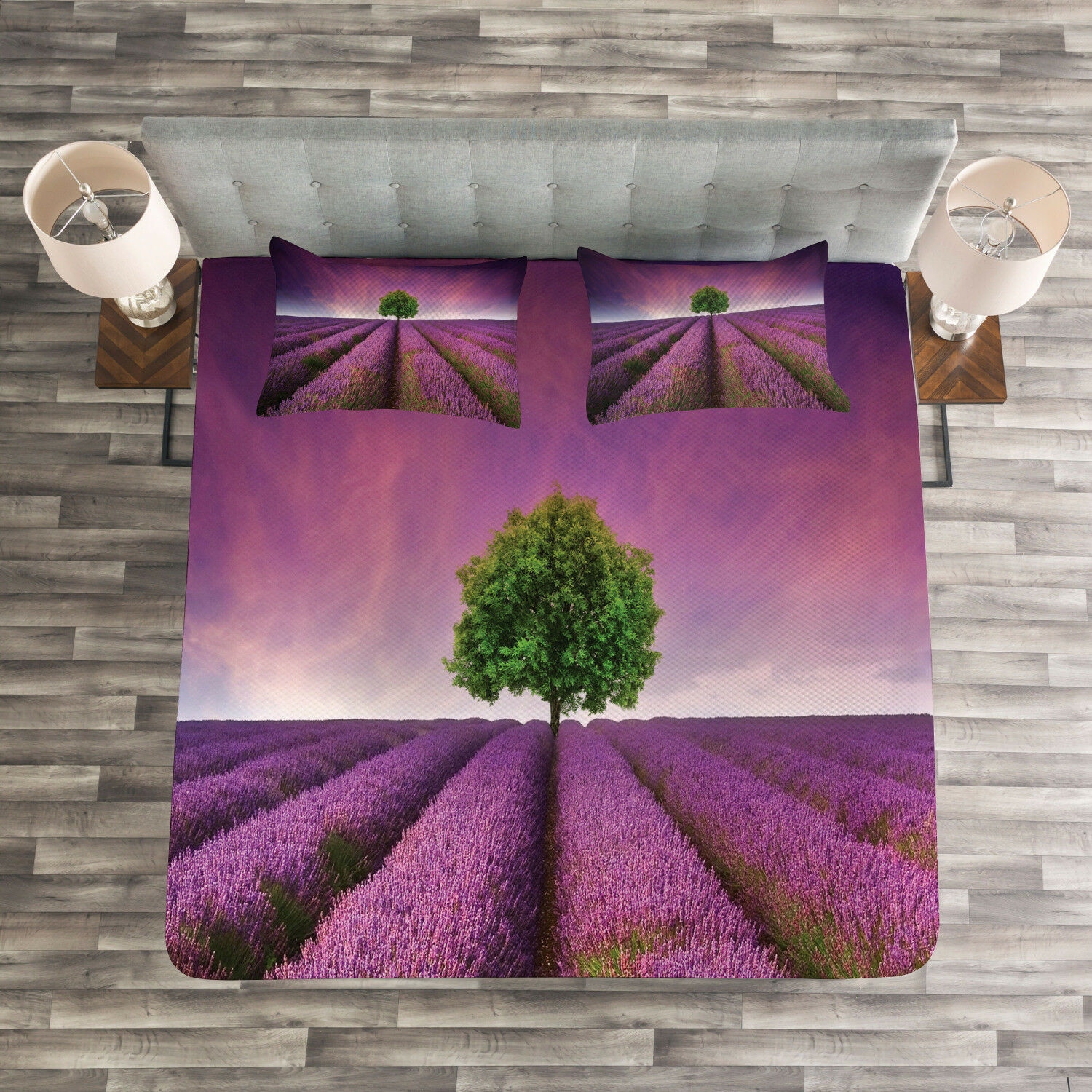 Lonely Tree Quilted Bedspread & Pillow Shams Set, Purple Field Print