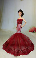 Red Royalty Mermaid Dress Party Dress/clothes/gown For Barbie Doll F45u