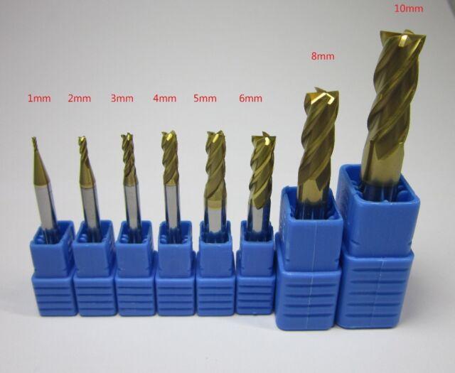 8PCS 3 flutes Tungsten Carbide for Aluminum End Mill 1-10mm CNC Milling Cutter
