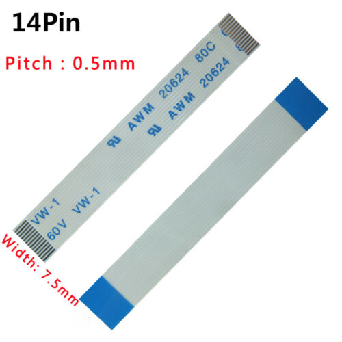 Pitch 0.5mm 14-Pin 14P FFC//FPC Flexible Flat Cable Wire 20624 80C 60V VW-1