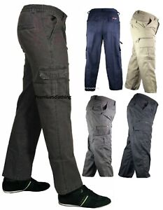 NEW-Mens-Mian-Trousers-Elasticated-Cargo-Combat-Multi-Pocket-Long-Pants-Jeans