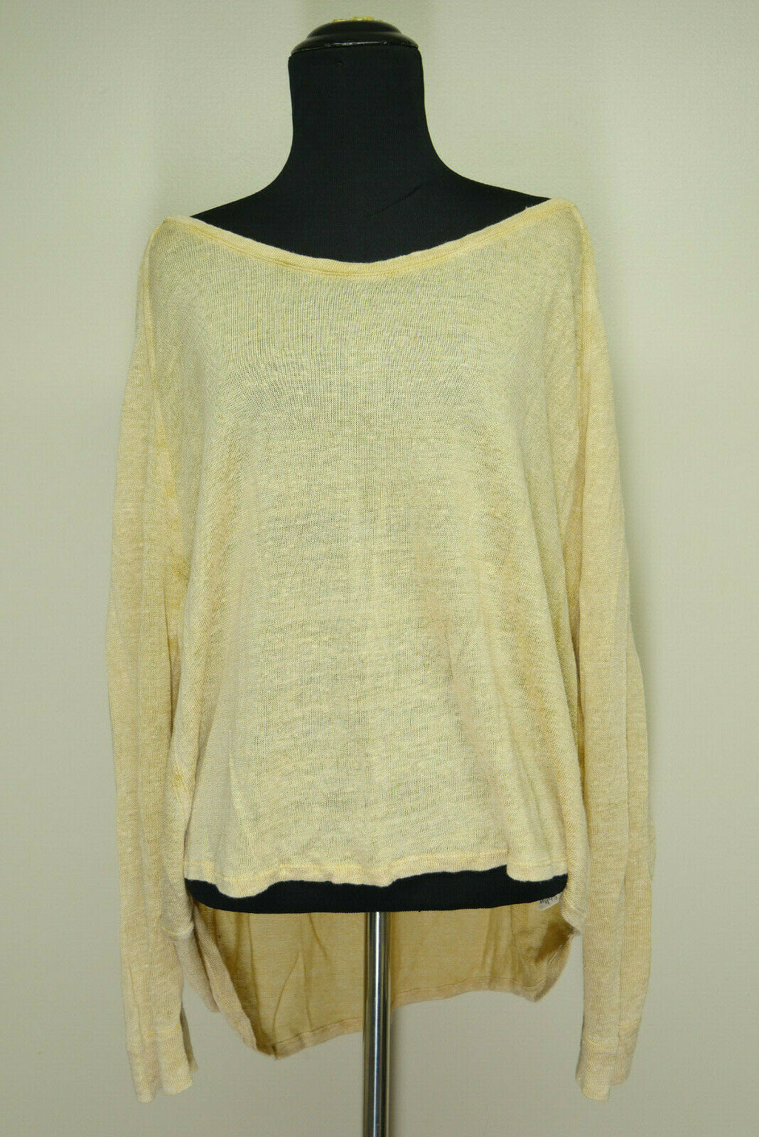 We The Free Free People gold Linen Blend Hi-Lo Doleman Sleeve Sweater Top Sz L
