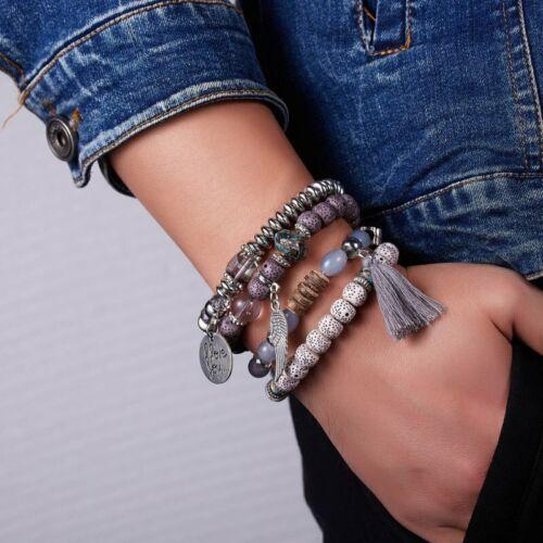 4pcs//set Boho I Love You multicouche Pierre Naturelle Bracelet Bracelet de perles bijoux