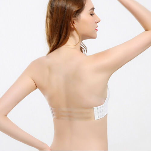 Strapless Thick Padded Transparent Multiway Clear Back Straps Push Up Brassiere
