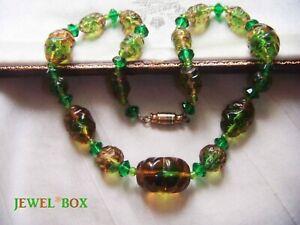 ART-DECO-CZECH-BOHEMIAN-BI-COLOUR-MOULDED-GLASS-BEADS-Vintage-NECKLACE-Rare-Gift