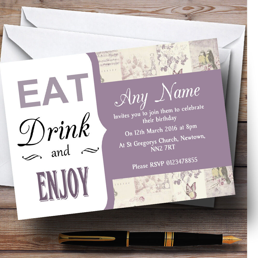 Lilac Birdcage Eat Drink Birdcage Personalised Birthday Party Invitations