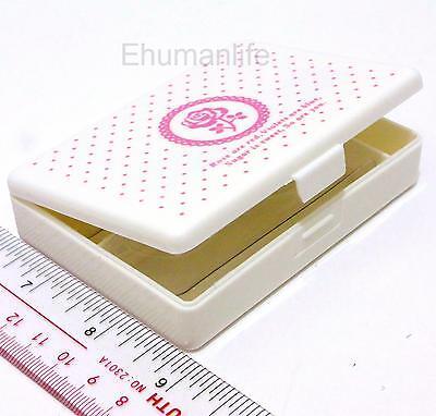 2pr False Eyelash Travelling CASE box (9.5 x7)cm with tray & mirror WHITE ROSE