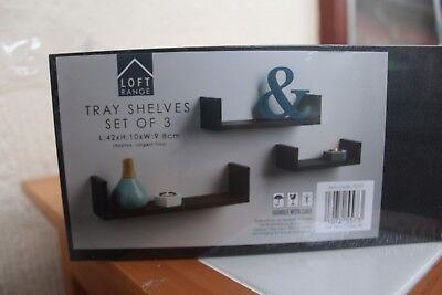 Loft Range Set Of 3 Tray Shelves 3 Wall Decorating Shelves Wall Organizer New Ebay
