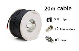 20m-Negro-RG6-TV-Digital-TDT-satelite-Sky-HD-Antena-Cable-Coaxial-Coaxial