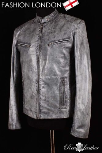 'TORQUE' Men's Grey STONE WASHED Cool Motorcycle Biker Real Leather Jacket