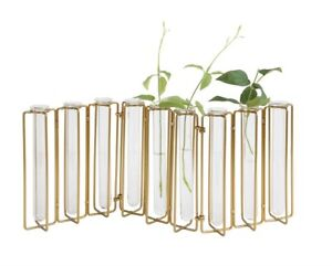 Glass-Tubes-Lined-Up-Flower-Brass-Hinged-Holder-for-Garden-Plant-Lover