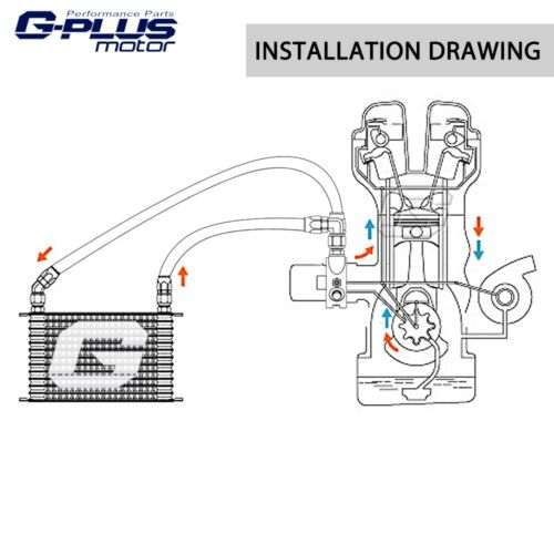 10 Row Universal  Engine Transmission Oil Cooler Kit Filter Adapter Hose AN10