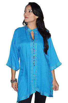 Moroccan Tunic Caftan Shirt Cotton Blouse Swim Suit Cover-up Turquoise SML-MED