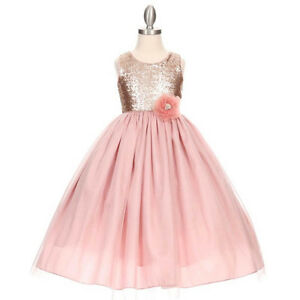 DUSTY-ROSE-Flower-Girl-Dress-Dance-Party-Wedding-Recital-Bridesmaid-Pageant-Prom