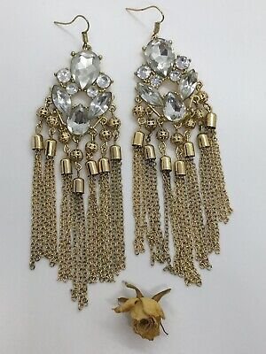 Luxury Defined Boho Chic Large Rose Drop Chandelier Earrings in Gold Plate