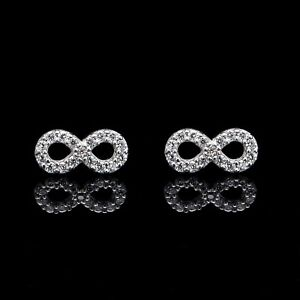 Details About 0 30ct Created Diamond Infinity Stud Earrings 14k White Gold Round Back