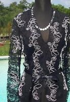 Cache Luxe Sheer Illusion Lace Top Jacket 0/2/4/6/8 Sequins + Belt $228