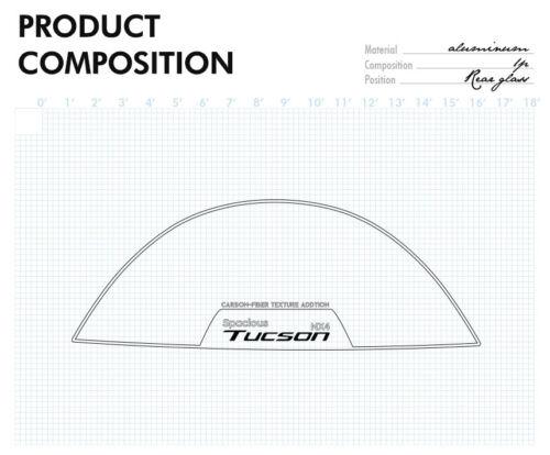 Rear Window Glass Carbon Aluminum Molding Trim for Hyundai 2022 Tucson