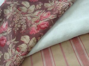Antique-vintage-French-Fabric-Coordinates-bundles-project-sewing-Floral-ticking