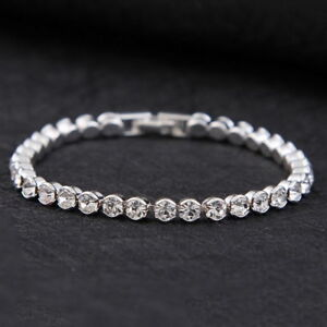 Silver-Plated-Tennis-Bracelet-made-with-Swarovski-Crystal-Bling-Diamond-Party